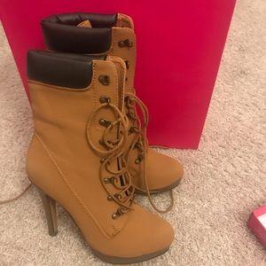 Mustard Color heels boots